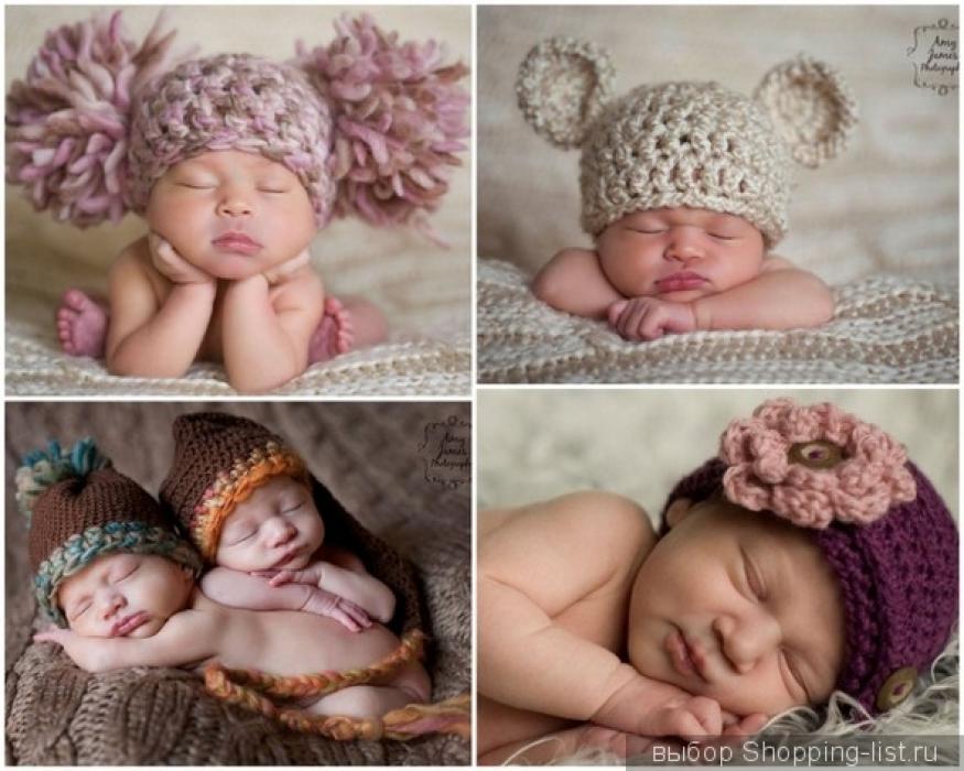 Вязаные шапочки для детей Вязаные шапки для новорожденных детей