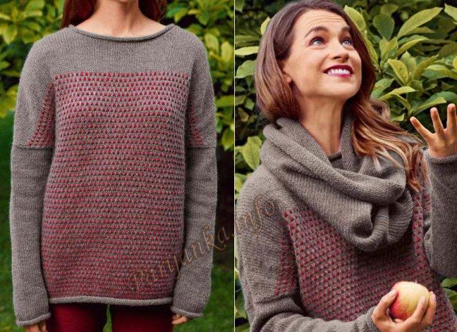 Пуловер с ложным жаккардом и