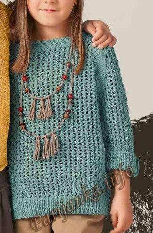 Пуловер рукава 3/4 (д) 40*167 Bergere de France