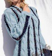 Пуловер с ажурными косами (ж) 05*172 Bergere de France №4072