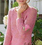 Ажурный пуловер с рукавами 3/4 (ж) 10*172 Bergere de France №4092