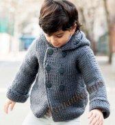 Пальто с капюшоном (д) 13124 Phildar №4800