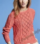 Коралловый пуловер (ж) 18121 Phildar №4623