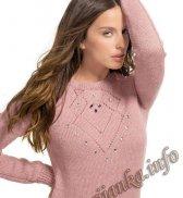 Пуловер с ажурным узором (ж) 261 Creations 16/17 Bergere de France №5002