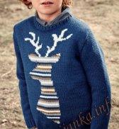 Жаккардовый пуловер с оленем (д) 26174 Bergere de France №4605