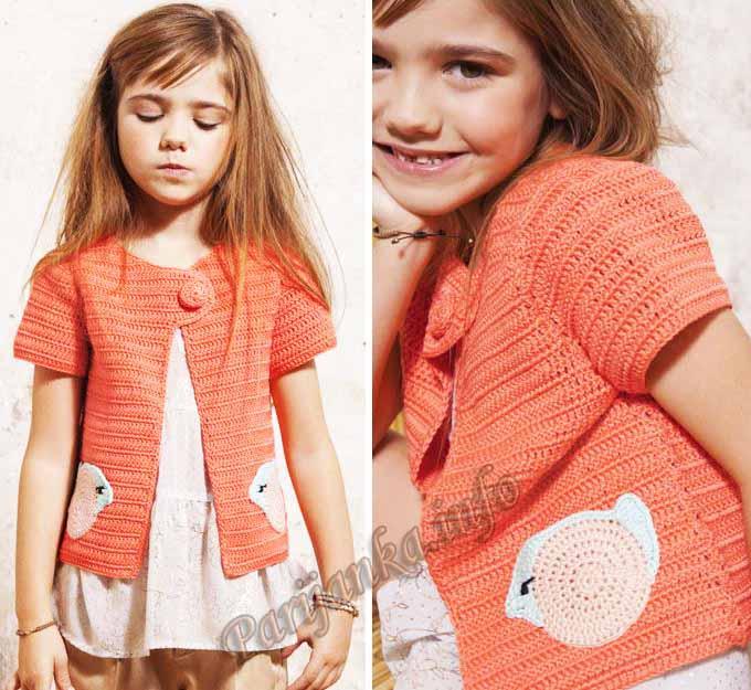 Вязание крючком кардиган для девочки 6 лет 21