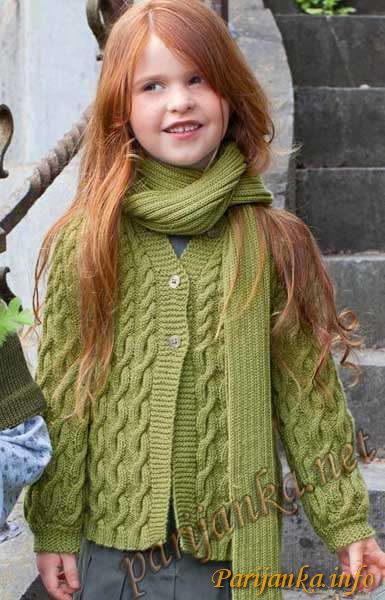 Кардиган и шарфик для девочки спицами