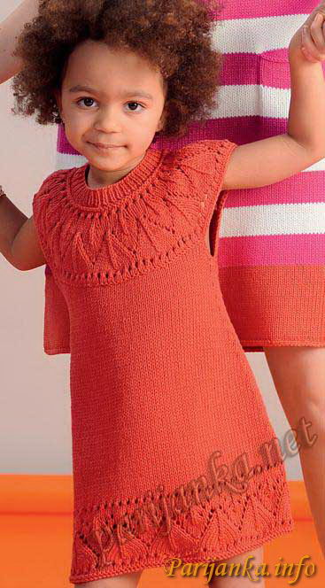 Вязание круговыми спицами туника для девочек 4 года