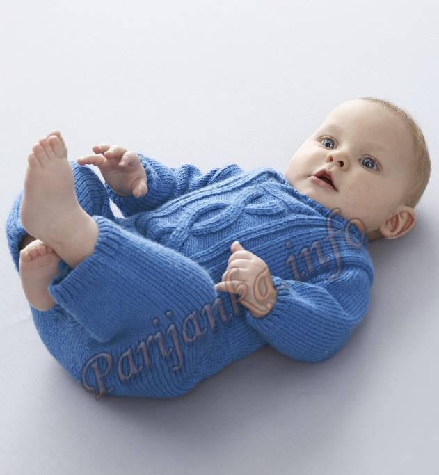 вязание спицами комбинезона для малышей.